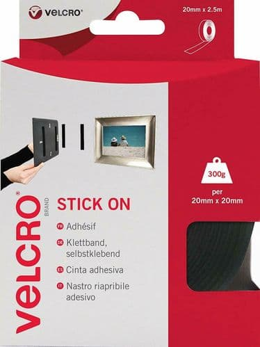 Black VELCRO Self Adhesive Tape Stick On Super Strong Hook & Loop - 20mm x 2.5m